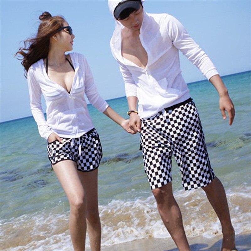Couple Swimwear Womens Mens Polyester Board Swim Shorts Gym Sports Running Surfing Shorts Beach Man Woman Quick Dry Swimwear