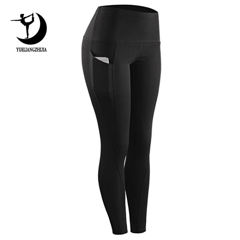 2019 calças de cintura alta esportes legging com bolso para mulheres moda de nova feminino calças plus size Elástico de fitness workout estiramento leggings