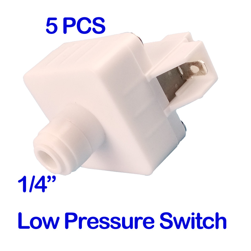 5PCS 1/4 OD Tube with Buckle Reverse Osmosis Tank Low Pressure Switch For RO Water Aquarium System 1/4 inch hose connection 1 meter ro water 1 4 3 8 inch od pe hose tubing white flexible pipe tube for reverse osmosis aquarium filter system