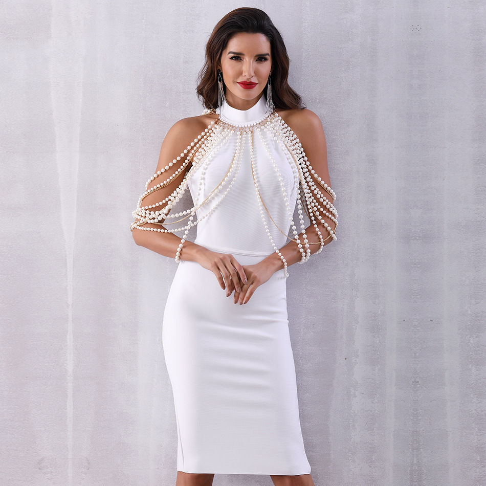 2019 Newest Summer Women Maxi Bandage Dress Elegant Long Pearls Chain Bead Backless Dress Elegant Sleeveless Evening Party Dress