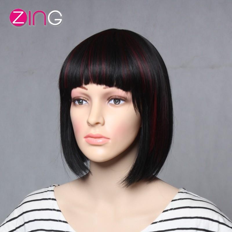Zing Hair Fashion Cheap Cosplay Wigs Cute Short Haircuts Blackred