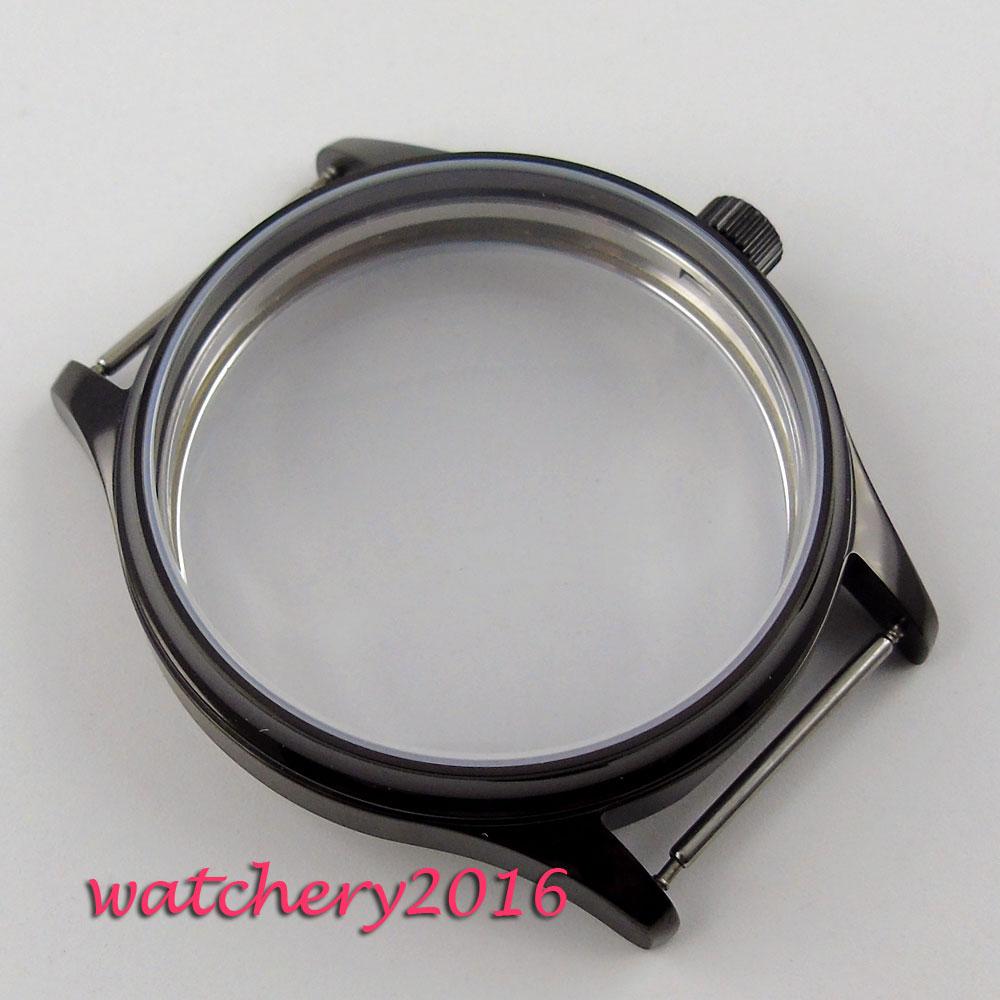 44mm parnis black PVD watch sterile CASE fit eta 6498 6497 hand winding Men's movement