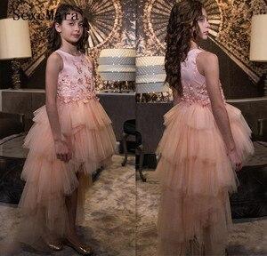 Новые Розовые Платья с цветочным узором для девочек на свадьбу, кружевные праздничные платья из тюля, детское платье на день рождения