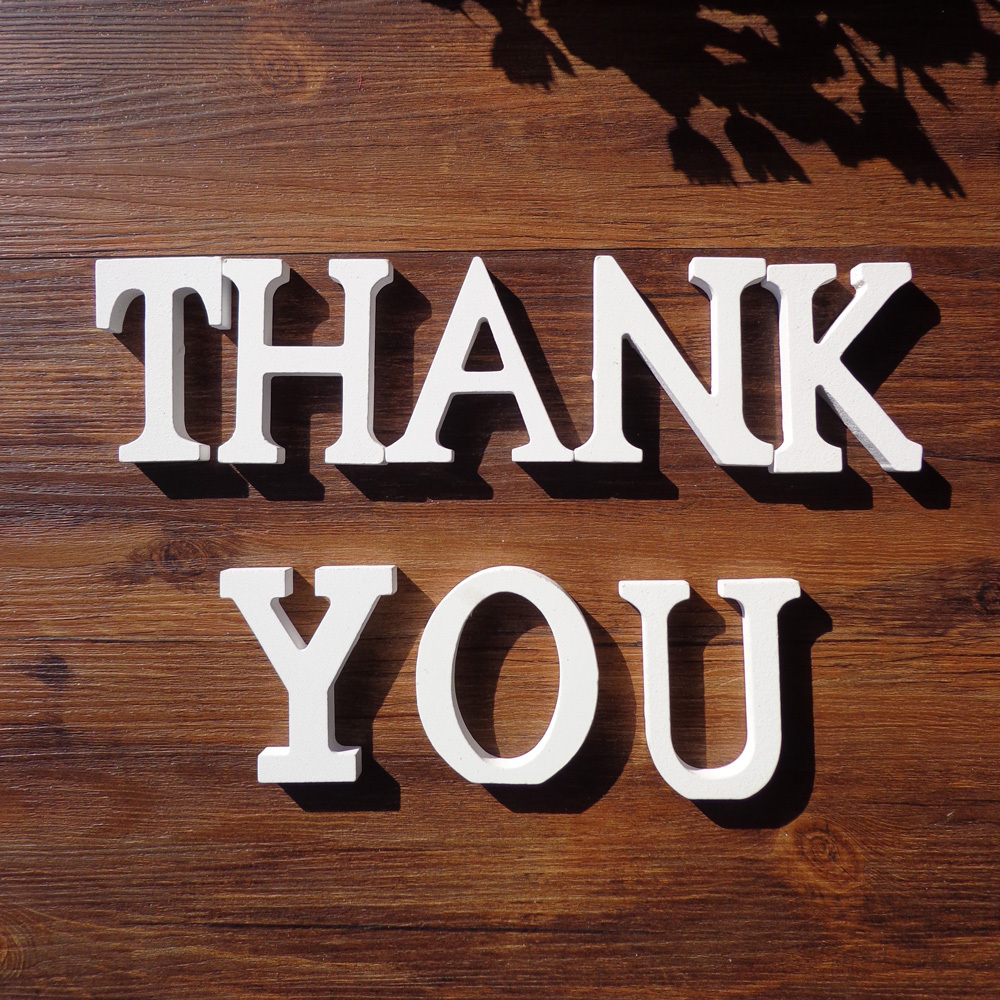 3sets/lot THANK YOU White Wooden Letters English Alphabet Word Free Standing for Wedding Party Birthday Home Decor