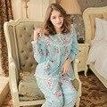 Floral Primavera Sleepwear Feminino E Outono Verão Plus Size Doce Pijamas Tecido 100% Algodão-Manga Longa Set Lounge Das Mulheres