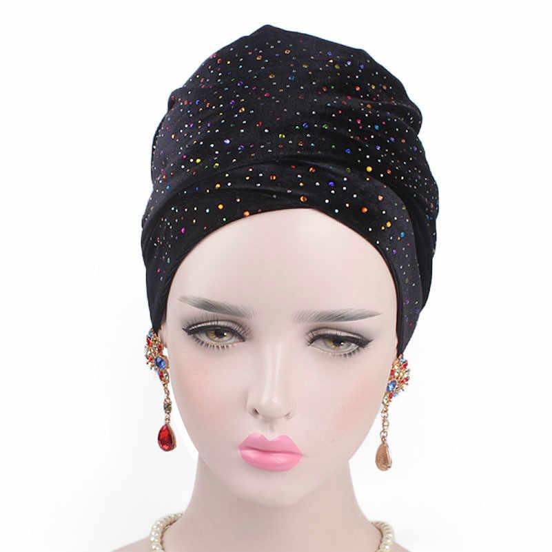 קטיפה נשים מוסלמיות צעיף Hijabs כובע יוקרה ואגלי ארוך צעיף קסם טורבן כובע פנימי Hijabs הודו כובע נשים שיער אבזרים