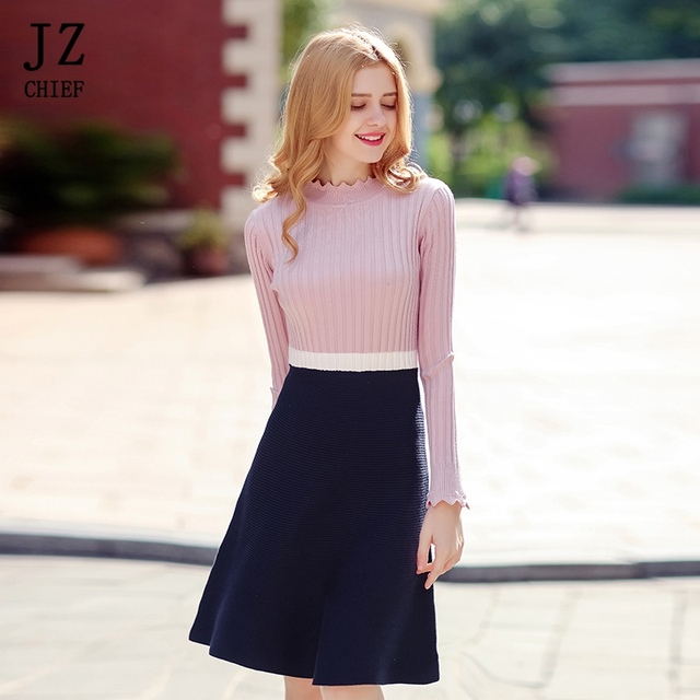 3aa1b392d21 JZ CHIEF Sweet Sweaters Dress 2018 Spring Long Sleeve Knitted Dress Pink  Patchwork Ruffles A-line Fashion O-neck Short Dresses
