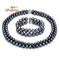 [Yinfeng] Moda negro perla conjunto de joyas para las mujeres 100% natural de agua dulce collar de perlas/pulsera de calidad superior elegante 7-8mm