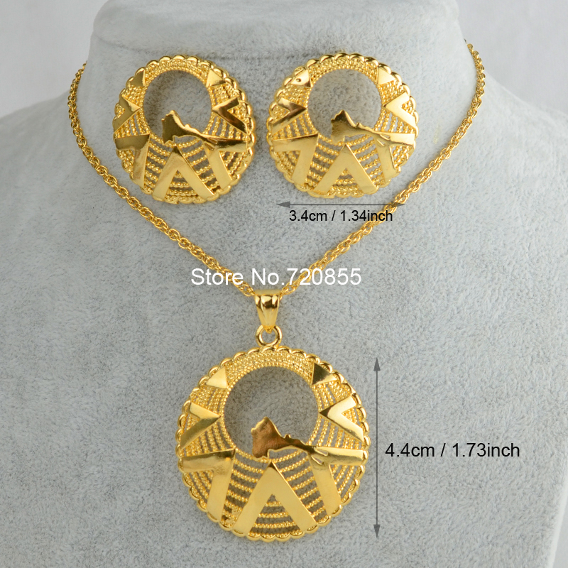 Anniyo Eritrea Map Pendant Necklaces and Earrings Gold Color