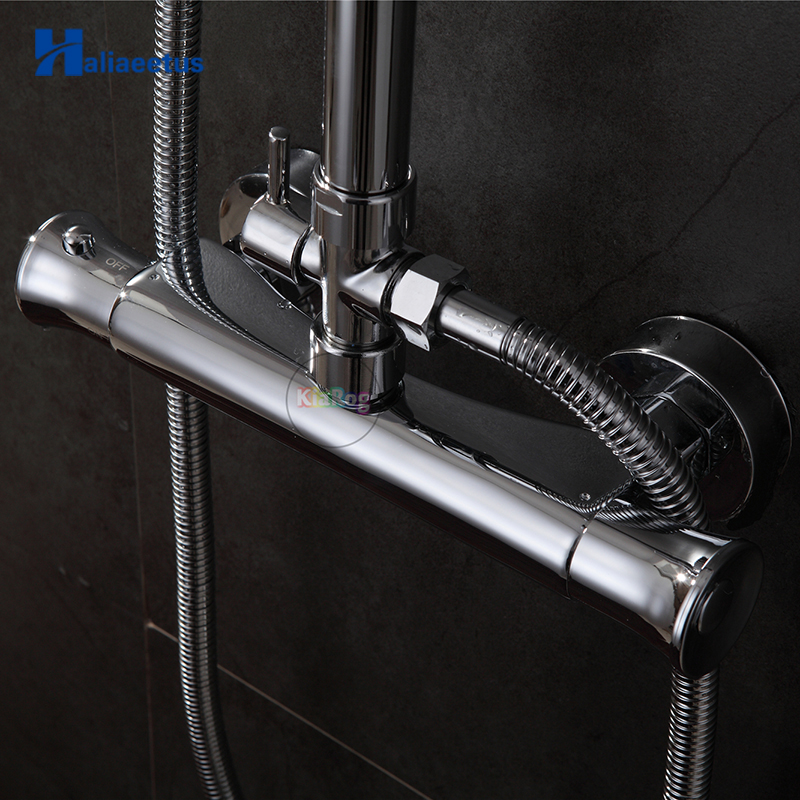 Bathroom Shower Mixer Chrome Finished Shower Faucet Wall Mounted Shower Valve Mixer Tap Thermostatic Faucet