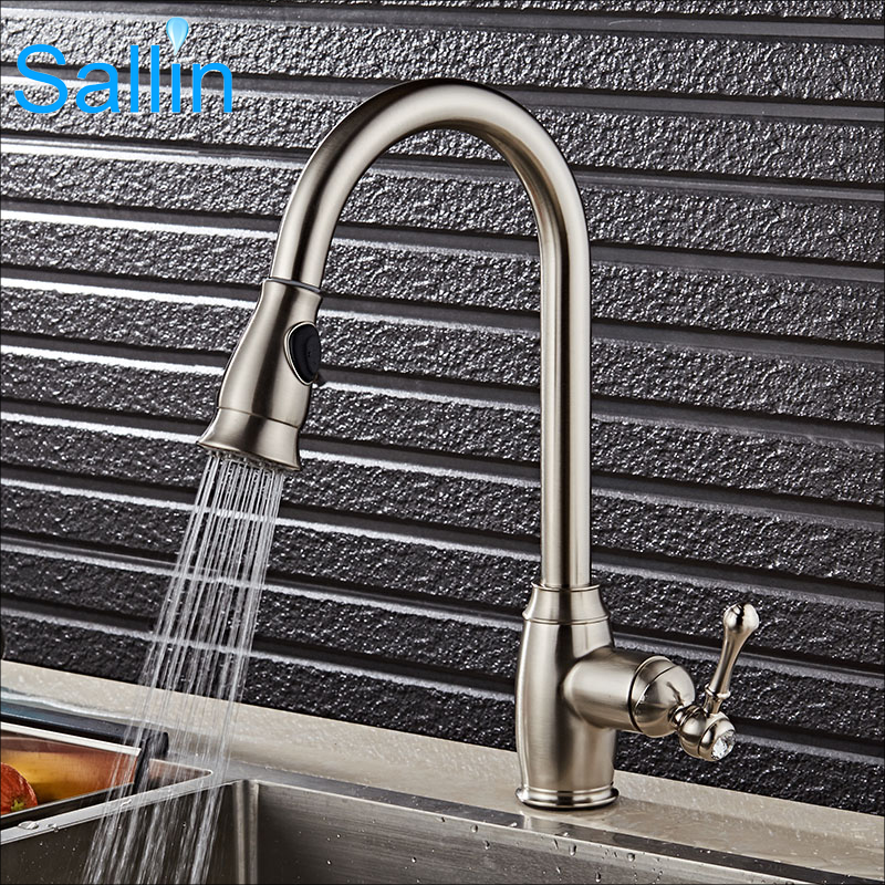 New and Unique Brushed Nickel Kitchen Faucet Cold and Hot Pull Out Kitchen Faucet Mixer Shower Spray Head Kitchen Faucet Tap sognare new wall mounted bathroom bath shower faucet with handheld shower head chrome finish shower faucet set mixer tap d5205