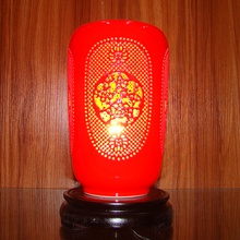 study traditional vintage chinese porcelain ceramic table lamp bedroom living room wedding table lamp jingdezhen red