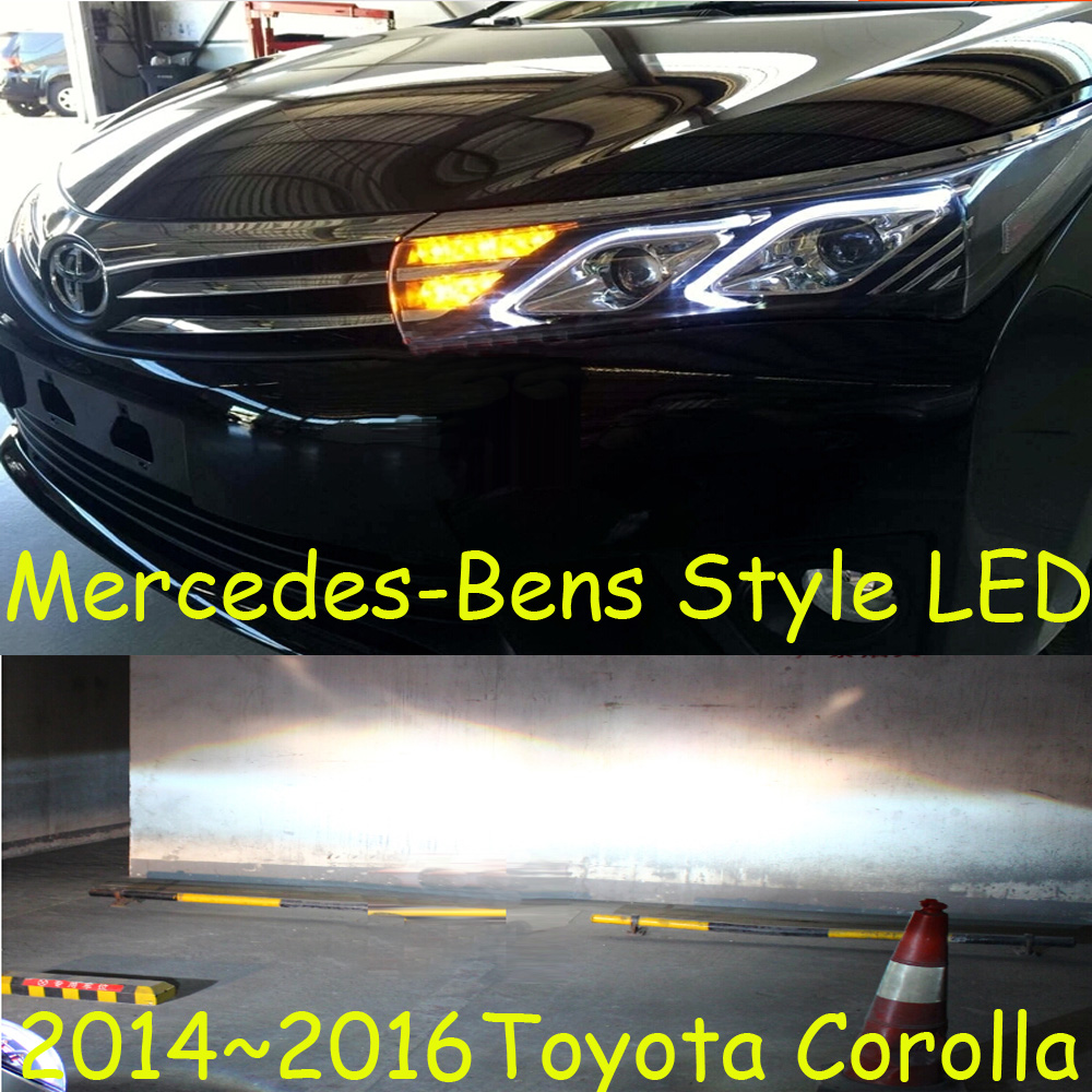 Super fashion led 2014 2016 toyota corolla headlight with projector lens hid bulb director light 2pcs option ballast free ship in car light assembly from