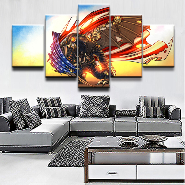 Charming Painting Wall Art Game Poster Canvas Printed Modern 5 Panel Bioshock  Infinite Modular Pictures Home Decor