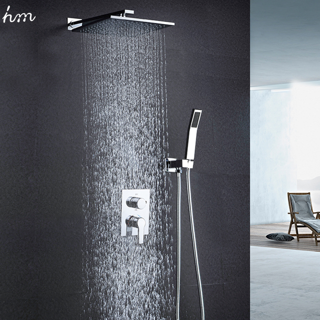 hm 10″ Rainfall Shower Head System Polished Chrome Bath & Shower ...