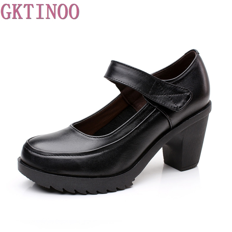 genuine leather women pumps female strap shallow mouth women's casual shoes OL COMFORTABLE black work shoes high heels hot temperament mature black genuine leather printing womens alphabet retro shoes shallow mouth embossed leather pumps