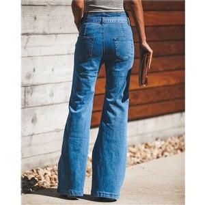 Image 3 - Jeans svasati in vita con cravatta blu pantaloni Slim in Denim da donna abiti Vintage 2019 pantaloni a vita alta primavera Jeans elasticizzati con cintura a gamba larga