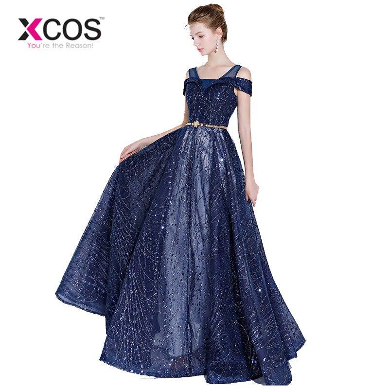 eae80e0975 XCOS Vestidos Graduacion 2018 Navy Blue Dress Prom Long Graduation Dresses  Bling Evening Gowns Vestido Longo Azul