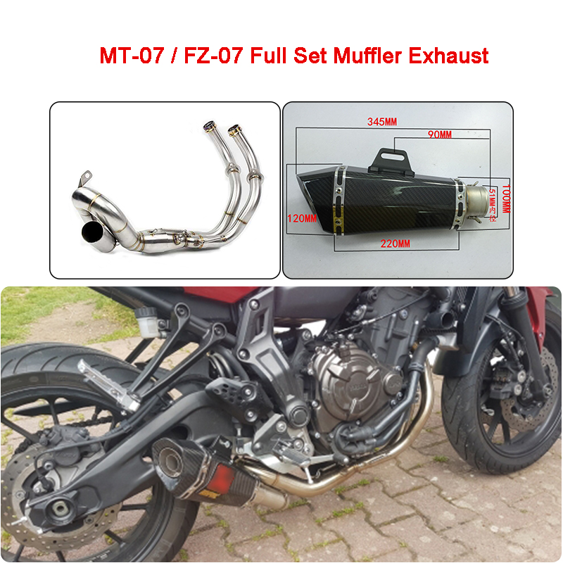 MT-07 MT07 FZ 07 XSR700 Motorcycle Full Set Muffler Exhaust System For Yamaha MT-07 FZ-07 MT07 XSR700 2013 2014 2015 2016 2017