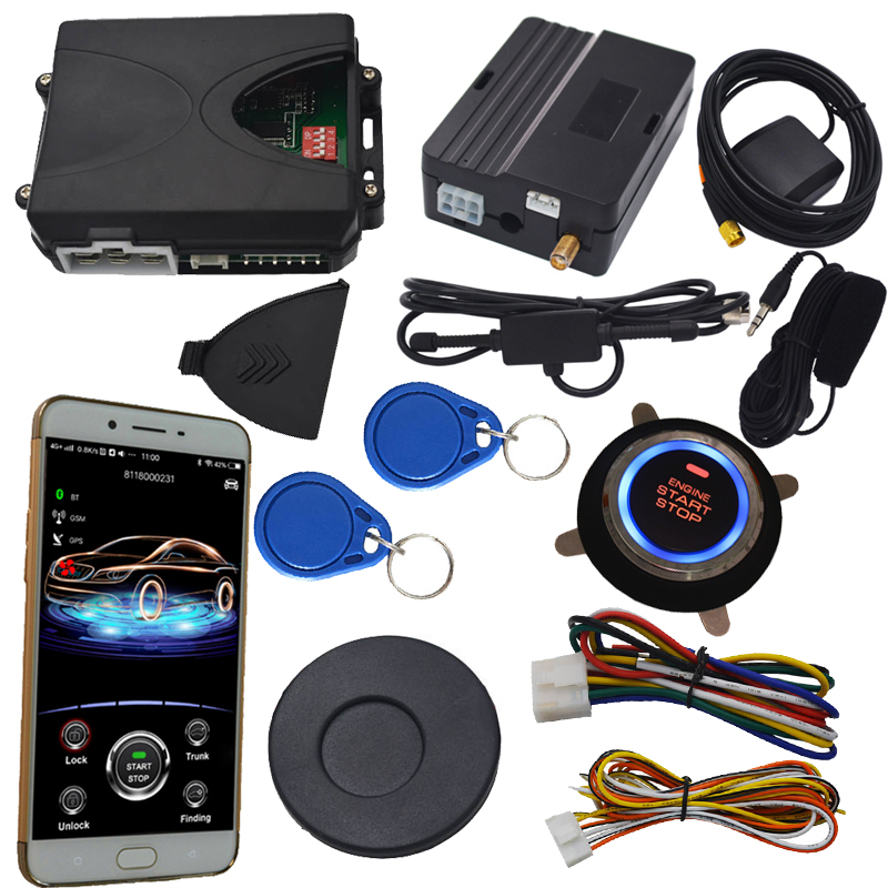 rfid car alarm with engine button start stop working with remote keyless entry or car alarm support diesel or petrol car pke smart car alarm system is with passive auto lock or unlock car door keyless go push button start stop remote start stop