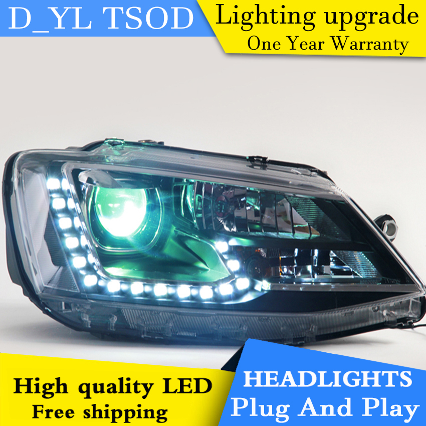 D_YL Car Styling LED Head Lamp for VW Jetta headlights 2012 2016 Jetta led headlight led drl H7 hid Q5 Bi Xenon Lens low beam-in Car Light Assembly from Automobiles & Motorcycles    2