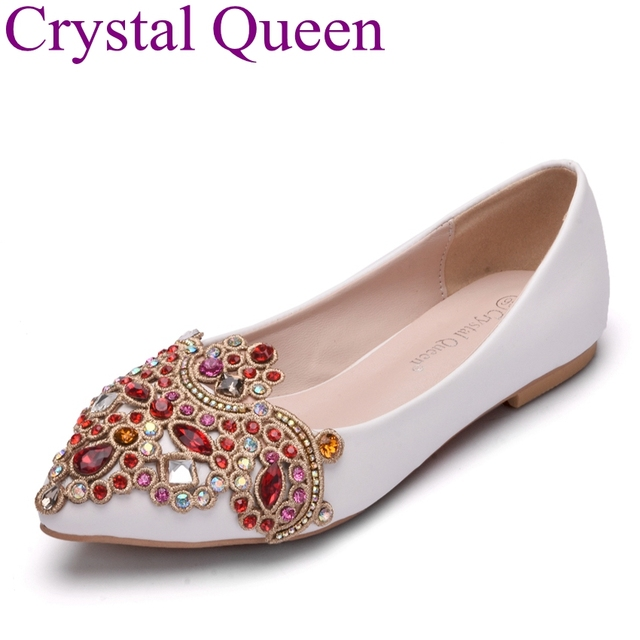 Crystal queen fashion flats women shoes wedding flat heel casual crystal queen fashion flats women shoes wedding flat heel casual shoes for girls pointed toe ballets junglespirit Image collections