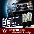 Night Lord free shipping For Prado 2014 Samsung chip 7440 WY21W T20 LED DRL & Front Turn Signalsall in one