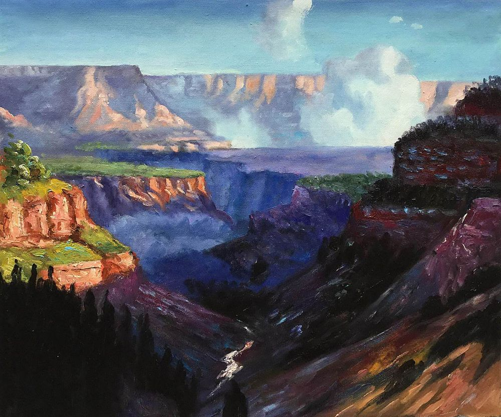 Hand Painted Landscape Art for Living Room Looking Across the Grand Canyon Edward Potthast Oil Painting Wall Decor Handmade