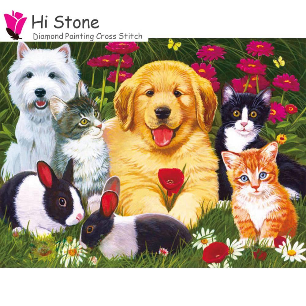 DIY алмазной живописи животного милый щенок собак, кошек, кролик, полный квадрат дрель 5D Вышивка крестом Мозаика Декор комплект подарок