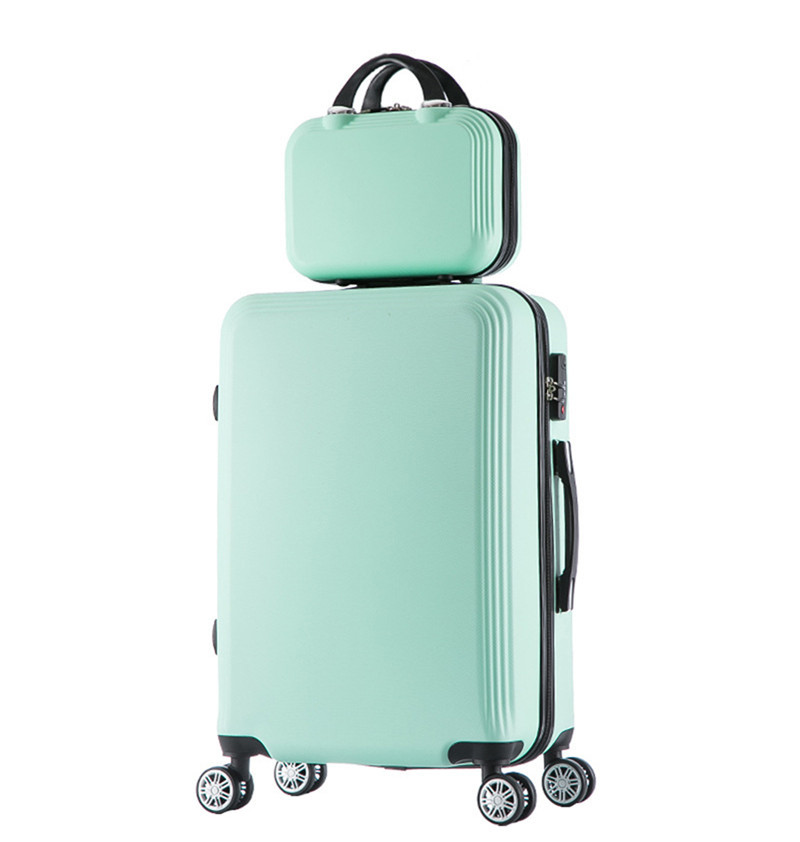 2 pcs/Set 14-inch cosmetic bag 20 inch students Travel luggage trolley case a woman rolling suitcase valise bagages roulettes wenjie brothernew 2pcs set shinning 14inch 20inch cosmetic bag men and women trolley case travel luggage woman rolling suitcase