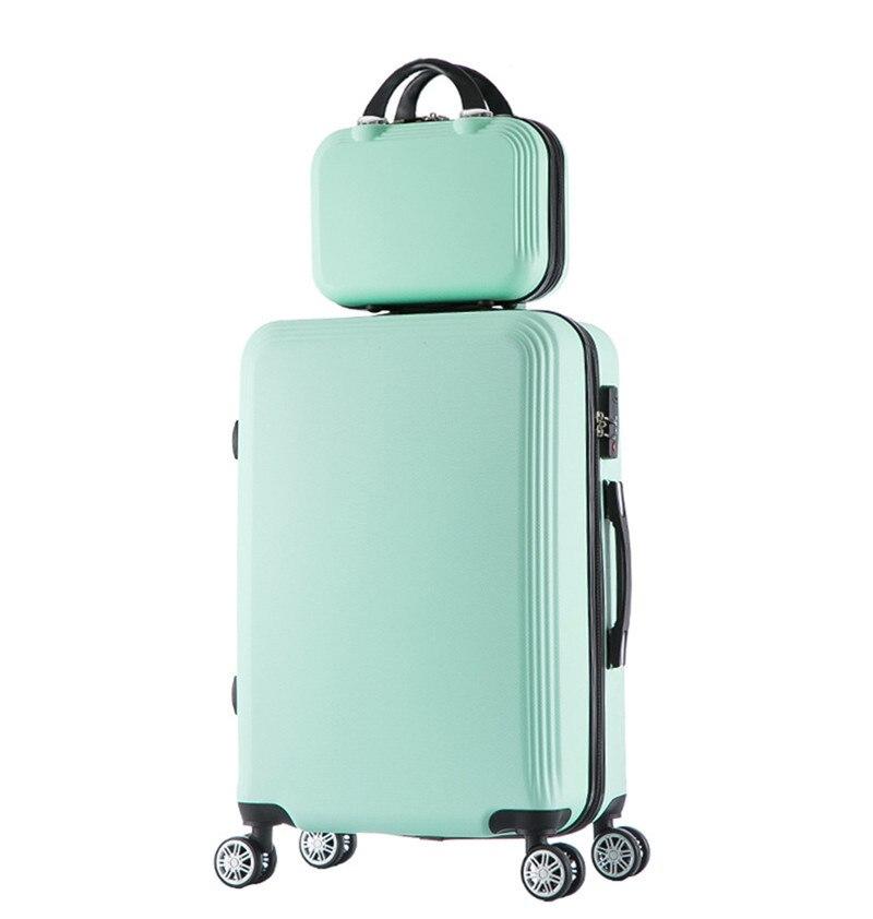 2 pz/set studenti bagaglio trolley Da Viaggio sacchetto del computer portatile sacchetto cosmetico 20 pollice caso una donna valigia di rotolamento valise bagages roulette