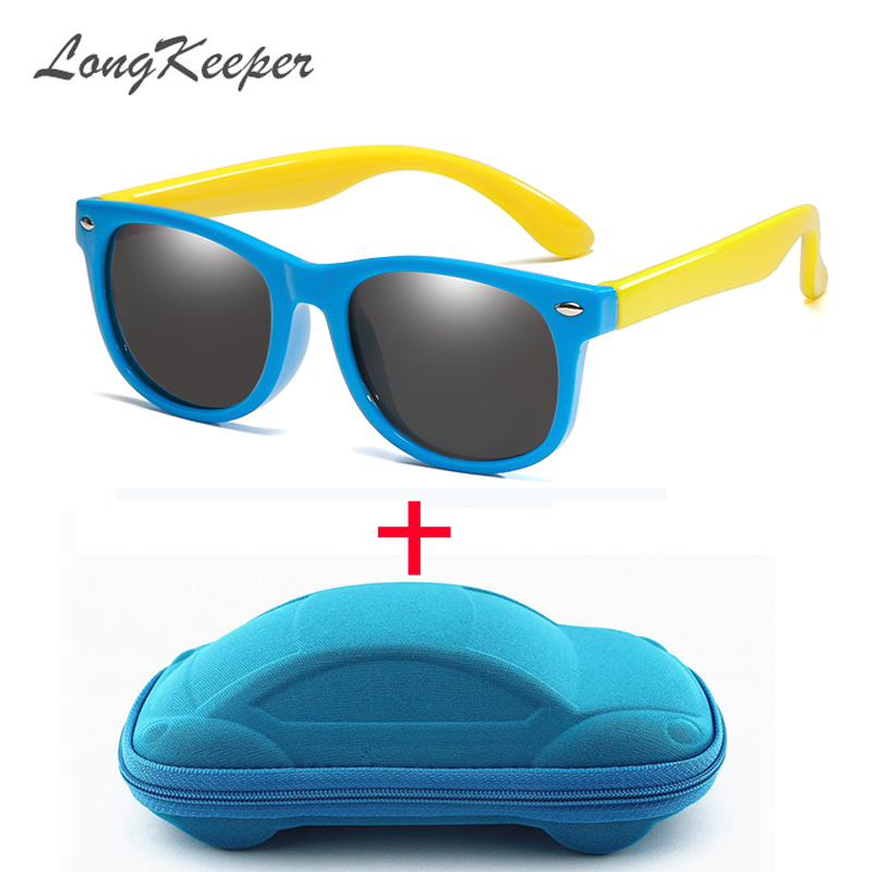 LongKeeper Mirror Kids Sunglasses With Case Boys Girls Polarized Silicone Safety Sun Glasses Gift For Children Baby UV400 Gafas