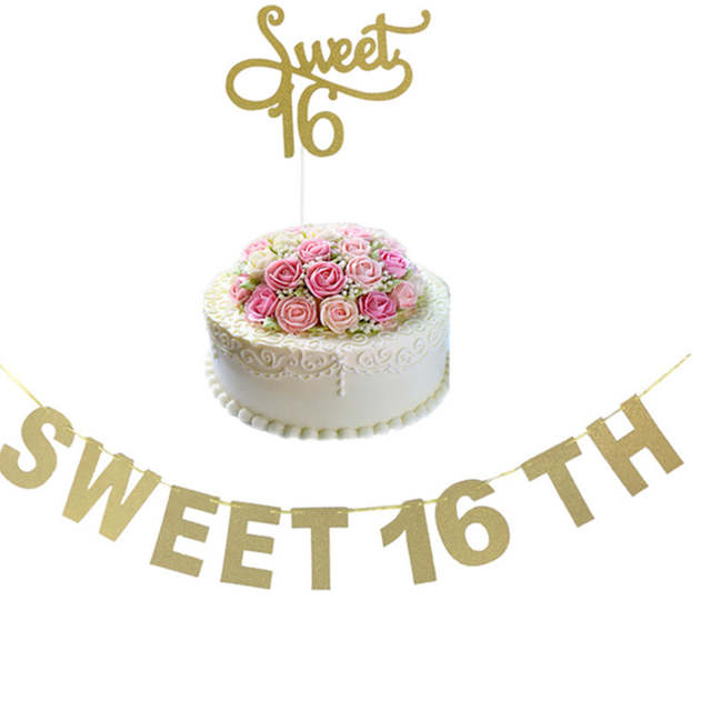 c7ff0278b8960 placeholder Gold Silver Black Glitter Sweet 16 Cake Topper Girl s Sixteenth  Birthday Party Decorations Happy