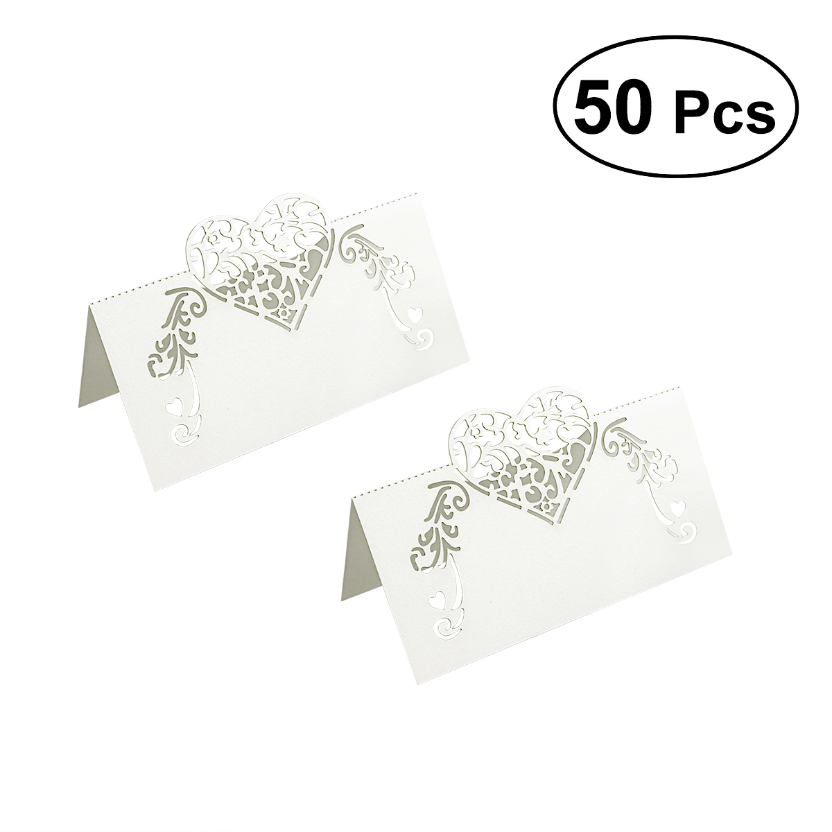 Image 2 - NICEXMAS 50pcs Laser Cut Heart Shape Place Cards Wedding Name Cards For Wedding Party Table Decoration Wedding Decor-in Party DIY Decorations from Home & Garden