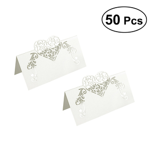 Image 2 - NICEXMAS Laser Cut Heart Shape Place Cards Wedding Name Cards For Wedding Party Table Decoration Wedding Decor