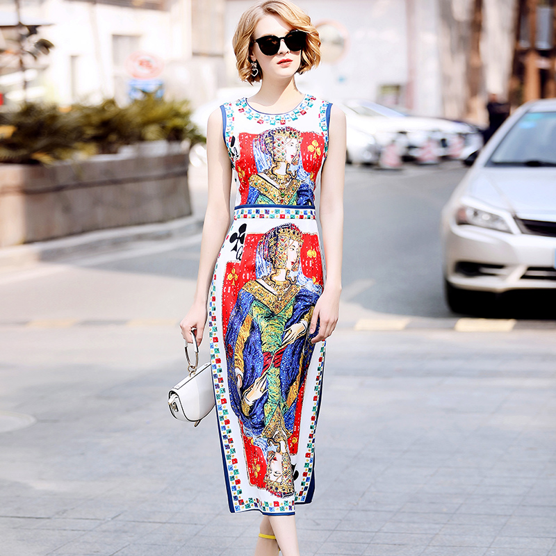 2019 nowy projektant runway moda letnia sukienka damska bez rękawów wzór z nadrukiem w stylu vintage frezowanie wysoka podziel połowy łydki sukienka w Suknie od Odzież damska na  Grupa 1