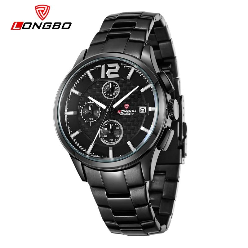 LONGBO Luxury Brand Men Waterproof Army Quartz Watch 2016 New Casual Cakendar Stainless Steel Wristwatch Relogio