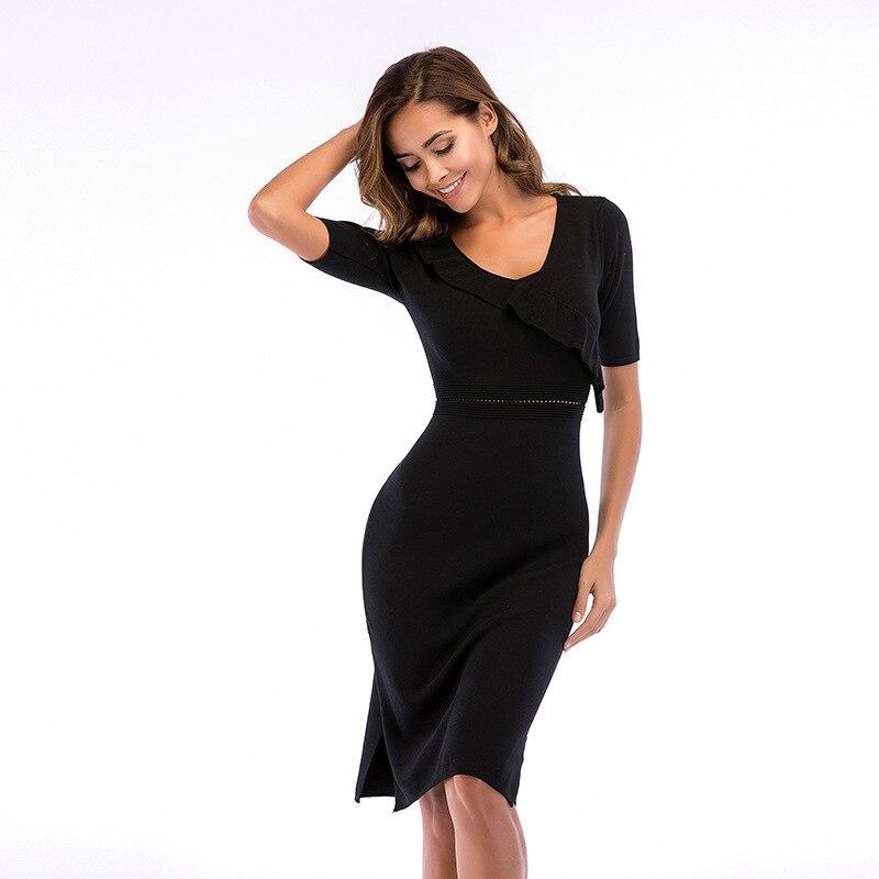 MUXU vestidos dress women sexy black knitted elegant dresses bodycon clothes jurken ladies streetwear sundress womens clothing in Dresses from Women 39 s Clothing