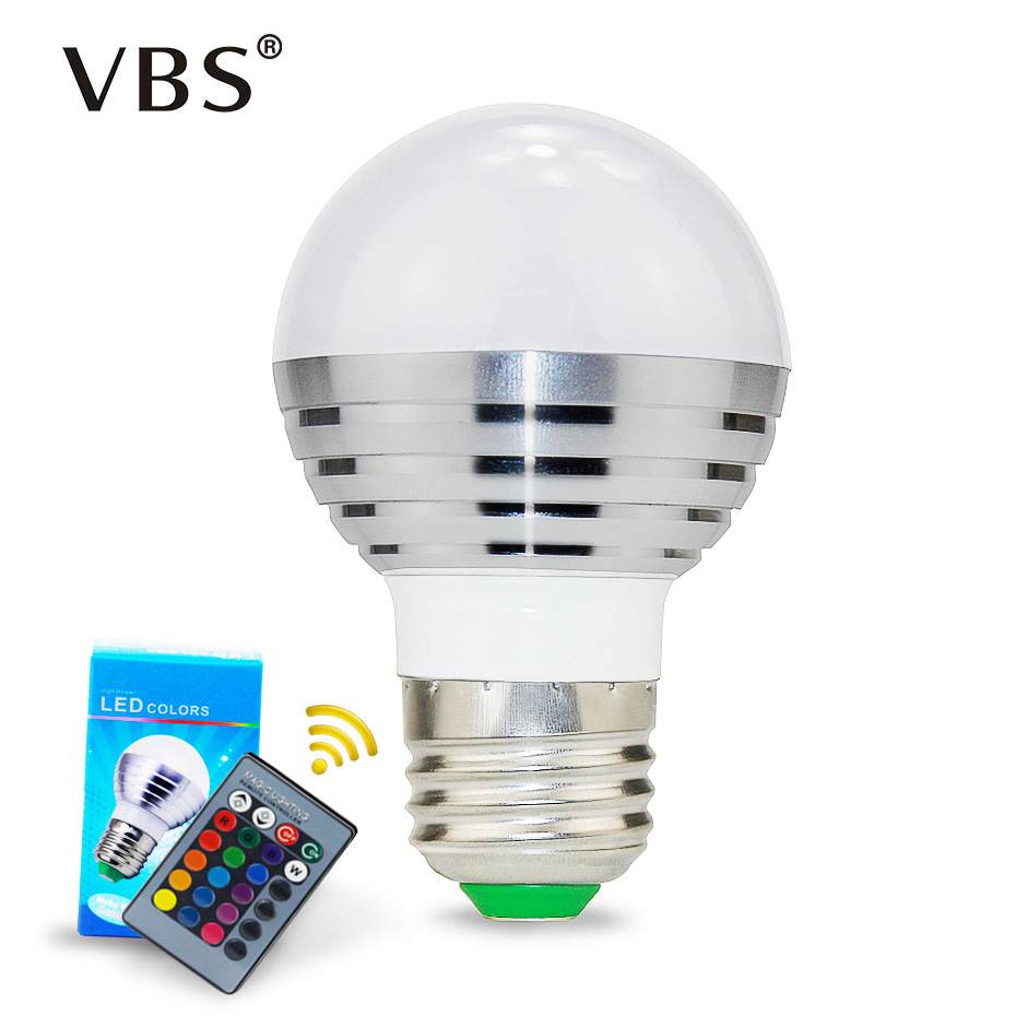 3W E27/E14/MR16/GU10 LED RGB LED Light Bulb With IR Remote Control Pop Lamp Color Changing AC 85-265V 16 Colors Changing  A1