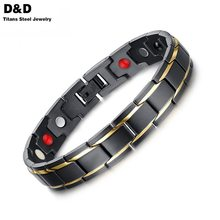 8.5inch Top Quality Health Men Bracelet Bangle 316L Stainless Steel Magnetic Care Jewelry Black & Gold Plated SBRM-009