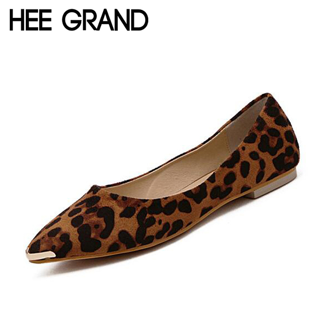 HEE GRAND Women Shoes Leopard PU Leather Ballet Flats Casual Sequined Pointed Toe Shoes Woman For Summer Size 35-39 XWD1650