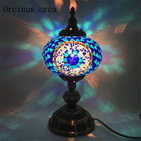 Mediterranean retro hand colored glass lamp bedroom bedside lamp southeast exotic tabled lamp free shipping
