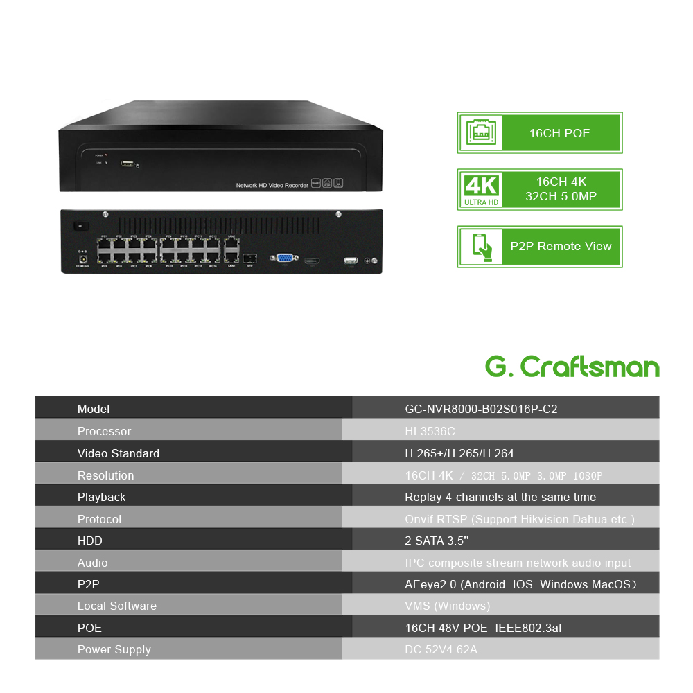 Image 2 - 16ch POE NVR 4K 5MP H.265 Up to 32ch NVR Network Video Recorder 2 HDD 24/7 Recording IP Camera Onvif 2.6 P2P System G.Ccraftsman-in Surveillance Video Recorder from Security & Protection