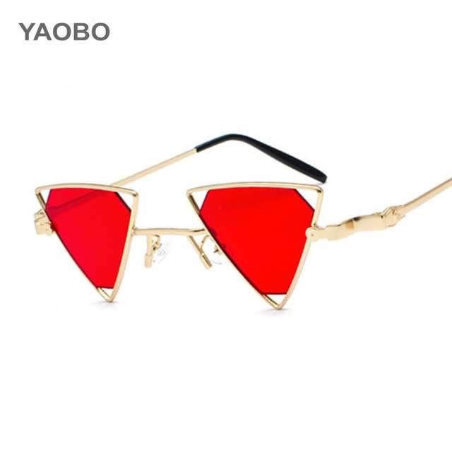 877ee77623b Online Shop Ladies triangle sunglasses steampunk men metal frame gold black  red flat top Cat Eyes sun glasses for women Oculos De Sol