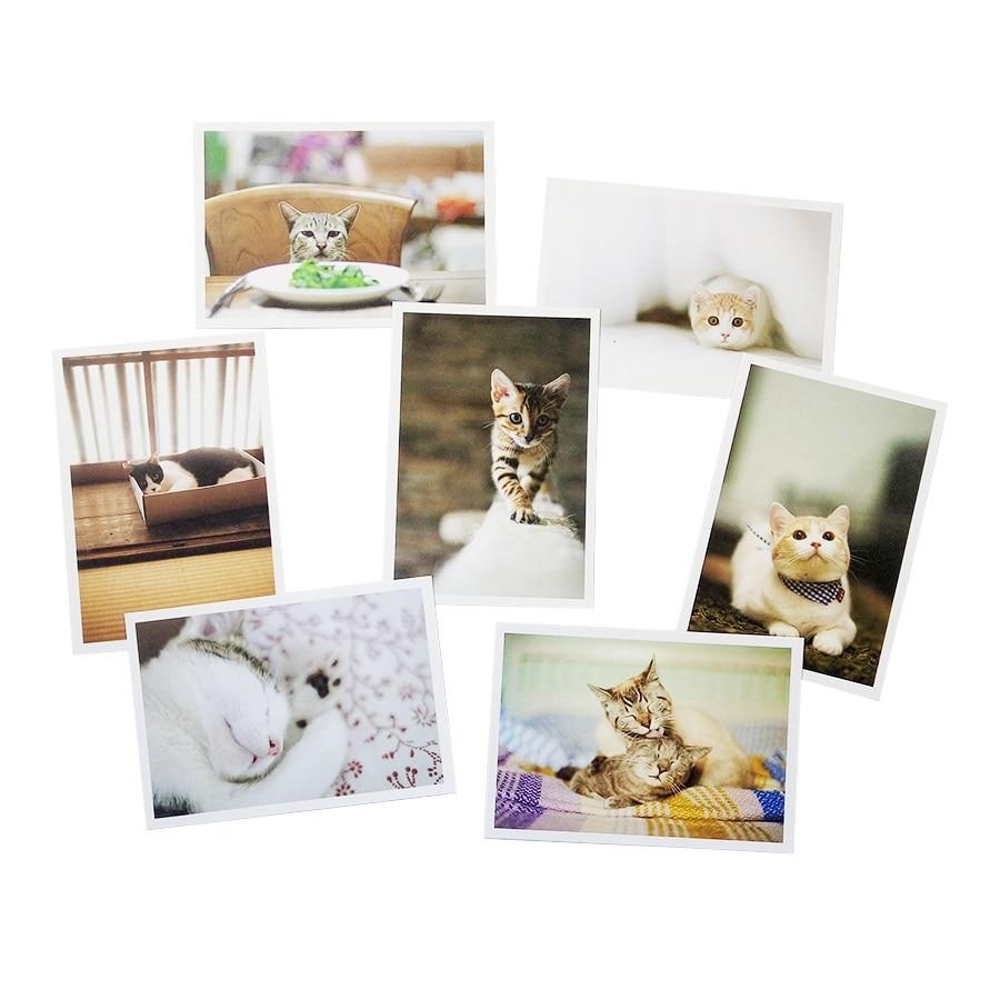 Купить с кэшбэком 28PCS/lot New cute cartoon cat series of postcards group greeting card gift cards Zakka office stationery
