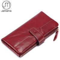 Jamarna Brand Genuine Leather Wallet Female Cowhide Hasp Vintage Ladies Wallet With Phone Pocket Card Holders