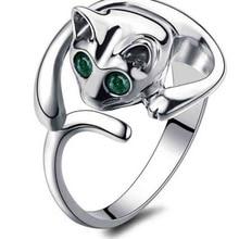 Women's Fashion Cute Animal Cat Shape Rhinestone Adjustable Open Finger Ring