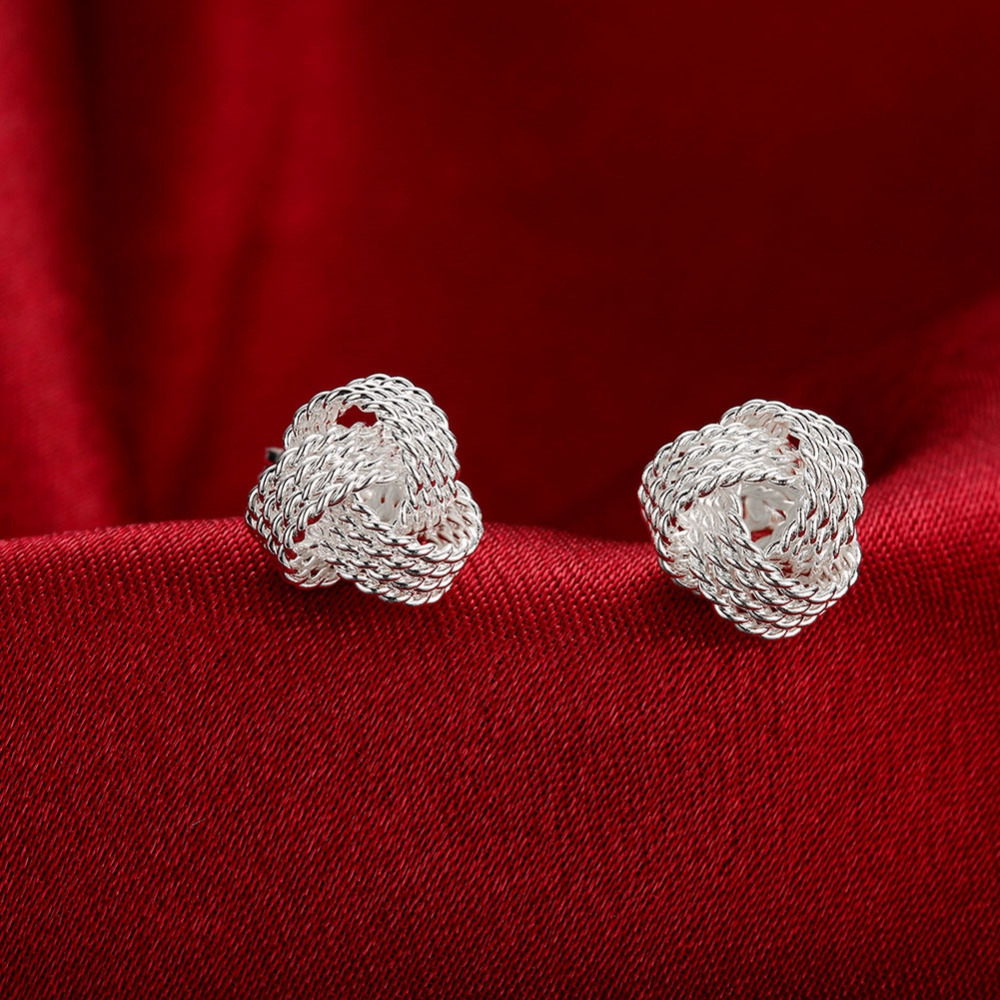 Cute New Fashion 925 Jewelry Silver Plated Tennis Net Web Stud Earings For Women Girls Summer Style Ball Earring Ear Studs