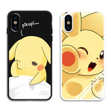 Japan Anime Silicone Cases For coque iphone 6 6S 7 8 plus X XR XS Max Soft TPU Matte Cover Cute Cartoon Pikachue Phone Case capa цена и фото