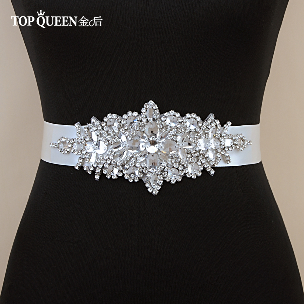 Bridal Sashes Belt Dress Wedding-Accessories TOPQUEEN Rhinestone Evening-Party for Prom-Gown
